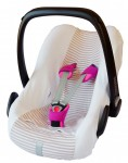 ByBoom® - Universal Sommerbezug, Schonbezug aus 100% Baumwolle mit Streifen für Babyschale, Autositz, z.B. Maxi Cosi CabrioFix, City, Pebble; Designed in Germany, MADE IN EU